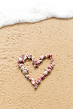 Μορφή καρδιών στα ρόδινα κοχύλια θάλασσας στην παραλία Στοκ Εικόνα