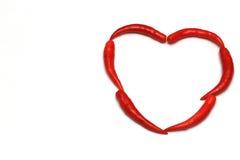 Μορφή καρδιών του κόκκινου πιπεριού τσίλι Στοκ Εικόνα