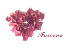Μορφή καρδιών του σακουλιού λουλουδιών και του δαχτυλιδιού διαμαντιών για την κάρτα βαλεντίνων απεικόνιση αποθεμάτων