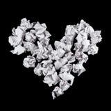 Μορφή καρδιών φιαγμένη από τσαλακωμένες σφαίρες εγγράφου Στοκ Εικόνες