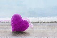 Μορφή πολυγώνων της καρδιάς στο μαλακό ελαφρύ υπόβαθρο Bokeh, Polygonal Στοκ Φωτογραφίες