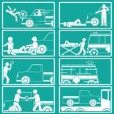 Μορφή σκιαγραφιών για το για τους πεζούς χτύπημα από το φορτηγό συλλογών διανυσματική απεικόνιση