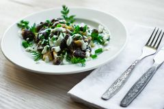 Μορχέλλη μανιταριών με την ξινή σάλτσα κρέμας Στοκ εικόνα με δικαίωμα ελεύθερης χρήσης