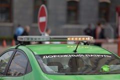 ΜΟΣΧΑ, ΡΩΣΙΑ - 30 ΑΠΡΙΛΊΟΥ 2018: Το αυτοκίνητο οδικής περιπόλου ` ` στο κορδόνι μετά από τη συνάθροιση στη λεωφόρο Sakharov Στοκ φωτογραφία με δικαίωμα ελεύθερης χρήσης