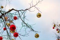 ΜΟΣΧΑ, ΡΩΣΙΑ - 10 Δεκεμβρίου 2016: Μόσχα που διακοσμείται για τις νέες διακοπές έτους και Χριστουγέννων Αίθουσα παγοδρομίας πατιν Στοκ Εικόνα