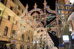 ΜΟΣΧΑ, ΡΩΣΙΑ - 10 Ιανουαρίου 2016 Φεστιβάλ - Χριστούγεννα ελαφριά στην οδό Nikolskaya Στοκ Φωτογραφία