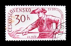 ΜΟΣΧΑ, ΡΩΣΙΑ - 20 ΙΟΥΝΊΟΥ 2017: Ένα γραμματόσημο που τυπώνεται σε Czechoslovaki Στοκ Εικόνες