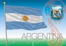 ΜΟΣΧΑ, ΡΩΣΙΑ, Ιούνιο-Ιούλιο 2018 - λογότυπο Παγκόσμιου Κυπέλλου της Ρωσίας 2018 και η σημαία της Αργεντινής Στοκ Φωτογραφία