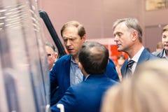 ΜΟΣΧΑ, ΡΩΣΙΑ - 23 ΜΑΐΟΥ 2015: Υπουργός της βιομηχανίας και του εμπορίου της Ρωσικής Ομοσπονδίας Denis Manturov στο HeliRussia 201 Στοκ φωτογραφία με δικαίωμα ελεύθερης χρήσης