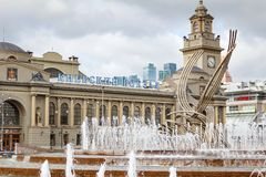 ΜΟΣΧΑ, ΡΩΣΙΑ - 16 Σεπτεμβρίου 2017 - το κεντρικό κτίριο του σιδηροδρομικού σταθμού Kievsky στη Μόσχα Στοκ Φωτογραφίες