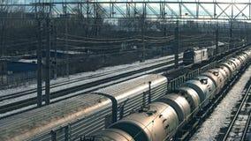 ΜΟΣΧΑ, ΡΩΣΙΑ - 27 ΦΕΒΡΟΥΑΡΊΟΥ 2016: Πλατφόρμα Pererva σιδηροδρομικών σταθμών τραίνων απόθεμα βίντεο