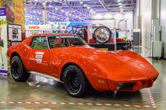 ΜΟΣΧΑ - ΤΟΝ ΑΎΓΟΥΣΤΟ ΤΟΥ 2016: Δρόμωνας C3 1967 Chevrolet που παρουσιάζεται στο διεθνές αυτοκινητικό σαλόνι MIAS Μόσχα στις 20 Αυ Στοκ Εικόνα