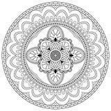 Μοτίβα Mandala λουλουδιών διακοσμητικός τρύγος στ&o Ασιατικό σχέδιο, διανυσματική απεικόνιση Χρωματίζοντας σελίδα βιβλίων Στοκ Εικόνες