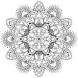 Μοτίβα Mandala λουλουδιών διακοσμητικός τρύγος στ&o Ασιατικό σχέδιο, διανυσματική απεικόνιση Χρωματίζοντας σελίδα βιβλίων Στοκ Εικόνα