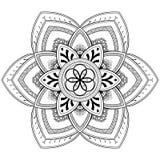 Μοτίβα Mandala λουλουδιών διακοσμητικός τρύγος στ&o Ασιατικό σχέδιο, διανυσματική απεικόνιση Χρωματίζοντας σελίδα βιβλίων Στοκ φωτογραφία με δικαίωμα ελεύθερης χρήσης