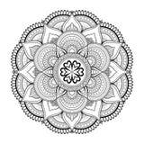 Μοτίβα Mandala λουλουδιών διακοσμητικός τρύγος στ&o Ασιατικό σχέδιο, διανυσματική απεικόνιση Χρωματίζοντας σελίδα βιβλίων Στοκ εικόνα με δικαίωμα ελεύθερης χρήσης