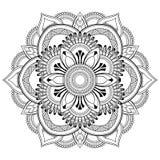 Μοτίβα Mandala λουλουδιών διακοσμητικός τρύγος στ&o Ασιατικό σχέδιο, διανυσματική απεικόνιση Χρωματίζοντας σελίδα βιβλίων Στοκ Φωτογραφία