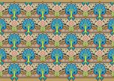 Μοτίβο διακοσμήσεων μπατίκ δέντρων Στοκ Εικόνα