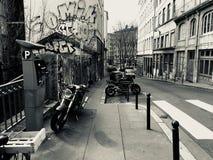 Μοτοσικλέτα πόλης παλαιά τετάρτων Στοκ εικόνα με δικαίωμα ελεύθερης χρήσης