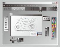 Μοτοσικλέτα σκίτσων εφαρμογής παραθύρων Στοκ Εικόνες