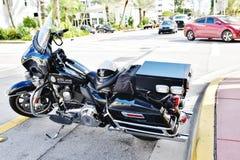 Μοτοσικλέτα αμερικανικής αστυνομίας παραλιών του κρατικού Μαϊάμι της Φλώριδας Στοκ Εικόνες