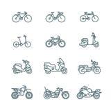 Μοτοσικλέτα, μοτοσικλέτα, μηχανικό δίκυκλο, ποδήλατο, διανυσματικά εικονίδια γραμμών ποδηλάτων λεπτά Στοκ εικόνα με δικαίωμα ελεύθερης χρήσης