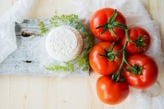 Μοτσαρέλα, ντομάτες κερασιών και φρέσκος βασιλικός - συστατικά για τη caprese σαλάτα Στοκ φωτογραφία με δικαίωμα ελεύθερης χρήσης