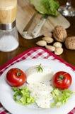 Μοτσαρέλα σε ένα πιάτο με τη σαλάτα και τις ντομάτες και μερικά συστατικά Στοκ εικόνες με δικαίωμα ελεύθερης χρήσης