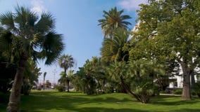 Μουσείο και κήπος Massena με τα εξωτικά πράσινα δέντρα στη Νίκαια, εξωτερικό της βίλας απόθεμα βίντεο