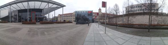 Μουσείο Καρλσρούη, Γερμανία πανοράματος ZKM στοκ φωτογραφία με δικαίωμα ελεύθερης χρήσης