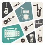 Μουσικά εικονίδια οργάνων  ελεύθερη απεικόνιση δικαιώματος