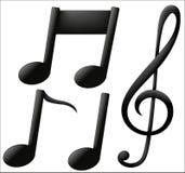 Μουσικά εικονίδια στο άσπρο υπόβαθρο απεικόνιση αποθεμάτων
