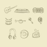 Μουσικά εικονίδια Στοκ εικόνα με δικαίωμα ελεύθερης χρήσης