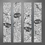Μουσικά εμβλήματα doodles κινούμενων σχεδίων hand-drawn Στοκ Εικόνες
