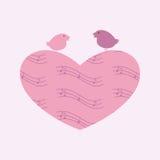 Μουσικά καρδιά και πουλιά Στοκ Εικόνες