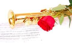 Μουσικά σημειώσεις και saxophone Στοκ Εικόνα