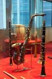 Μουσικά όργανα ανέμων στο μουσείο Στοκ φωτογραφίες με δικαίωμα ελεύθερης χρήσης