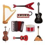 Μουσικά όργανα καθορισμένα, άρπα, συνθέτης, κιθάρες, ακκορντέον, balalaika, διανυσματική απεικόνιση τυμπάνων σε ένα λευκό απεικόνιση αποθεμάτων