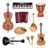 Μουσικά όργανα καθορισμένα, βιολοντσέλο, βιολί, τύμπανο, κύμβαλα, dombra, maracas, κιθάρες, διανυσματική απεικόνιση ακκορντέον στ απεικόνιση αποθεμάτων