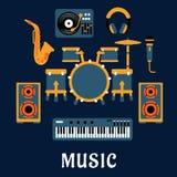 Μουσικά όργανα και υγιής εξοπλισμός διανυσματική απεικόνιση