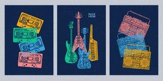 Μουσικά όργανα, κιθάρα, βιολί, βιολί, κλαρινέτο, μπάντζο, τρομπόνι, σάλπιγγα, saxophone, σκεπάρνι E απεικόνιση αποθεμάτων
