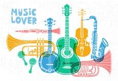 Μουσικά όργανα, κιθάρα, βιολί, βιολί, κλαρινέτο, μπάντζο, τρομπόνι, σάλπιγγα, saxophone, σκεπάρνι E ελεύθερη απεικόνιση δικαιώματος