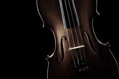 Μουσικά όργανα σειρών κινηματογραφήσεων σε πρώτο πλάνο βιολιών Στοκ Εικόνα