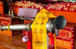 Μουσικά όργανα σε έναν βουδιστικό ναό στοκ εικόνες