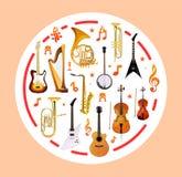 Μουσικά όργανα στη στρογγυλή μορφή επίσης corel σύρετε το διάνυσμα απεικόνισης απεικόνιση αποθεμάτων