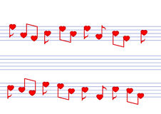 Μουσικές νότες καρδιών διανυσματική απεικόνιση
