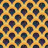 Μουσικής σημειώσεων μισό άνευ ραφής σχέδιο τραγουδιού κύκλων χρυσό απεικόνιση αποθεμάτων