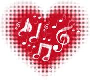 Μουσική αγάπης. Σημείωση μουσικής στην καρδιά Στοκ Εικόνα