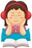Μουσική ακούσματος κοριτσιών και ανάγνωση του βιβλίου διανυσματική απεικόνιση