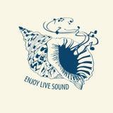 Μουσική απεικόνιση με το θαλασσινό κοχύλι Στοκ εικόνα με δικαίωμα ελεύθερης χρήσης